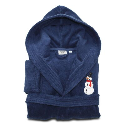 Anselm Kids 100% Cotton Hooded Snowman Terry Bathrobe Size: Large, Color: Midnight Blue