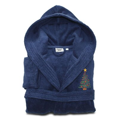 Anselm Kids 100% Cotton Hooded Christmas Tree Terry Bathrobe Size: Medium, Color: Midnight Blue