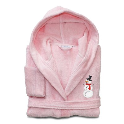 Anselm Kids 100% Cotton Hooded Snowman Terry Bathrobe Size: Large, Color: Pretty Pink