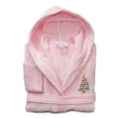 Anselm Kids 100% Cotton Hooded Christmas Tree Terry Bathrobe Size: Large, Color: Pretty Pink