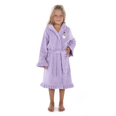 Astin Snowman Design Kids 100% Cotton Hooded Terry Bathrobe Size: 29.5 H x 12.5 W, Color: Purple