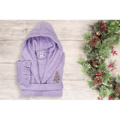 Astoria Christmas Tree Design Kids 100% Cotton Hooded Terry Bathrobe Size: 29.5 H x 12.5 W, Color: Purple