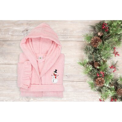 Astin Snowman Design Kids 100% Cotton Hooded Terry Bathrobe Size: 29.5 H x 12.5 W, Color: Pretty Pink