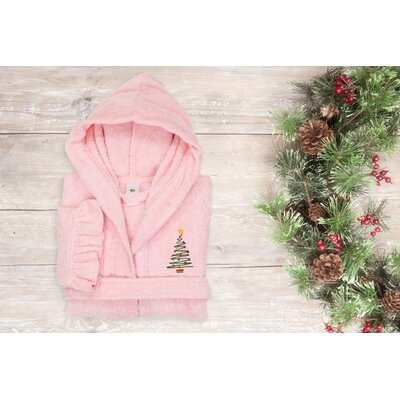 Astoria Christmas Tree Design Kids 100% Cotton Hooded Terry Bathrobe Size: 33.5 H x 13.5 W, Color: Pretty Pink
