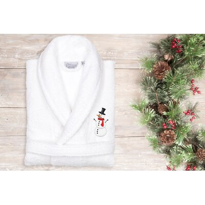 Snowman Embroidered Terry Bathrobe Size: 51 H x 26 W, Color: White