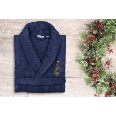 Christmas Embroidered Terry Bathrobe Size: 47 H x 20 W, Color: Navy