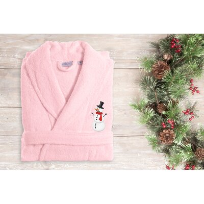 Snowman Embroidered Terry Bathrobe Size: 49 H x 25 W, Color: Pink