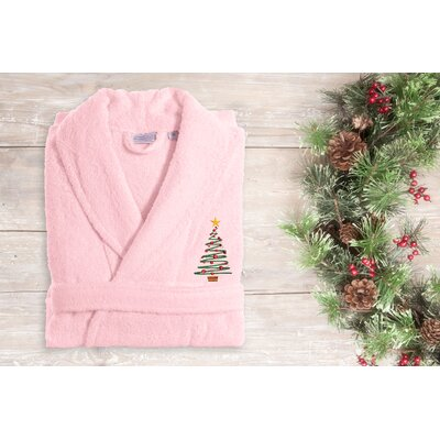 Christmas Embroidered Terry Bathrobe Size: 51 H x 26 W, Color: Pink