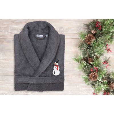 Snowman Embroidered Terry Bathrobe Size: 51 H x 26 W, Color: Gray