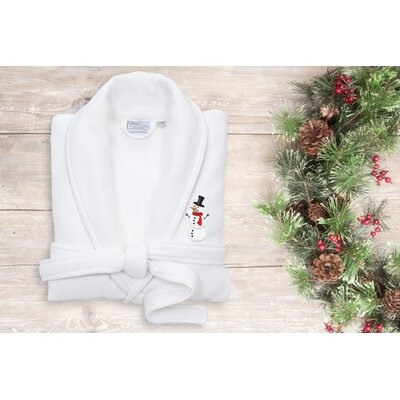 Snowman Embroidered Waffle Terry Bathrobe Size: 47 H x 20 W, Color: White