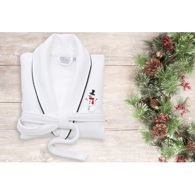 Snowman Embroidered Waffle Terry Bathrobe Size: 49 H x 25 W, Color: White/Black