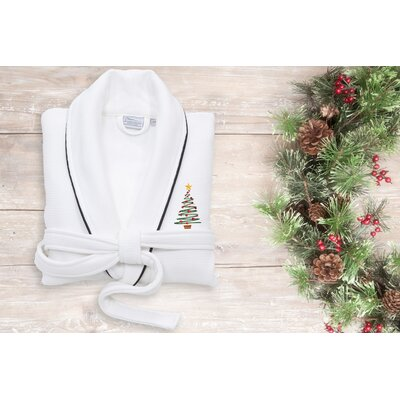 XMas Tree Embroidered Waffle Terry Bathrobe Size: 49 H x 25 W, Color: White/Black