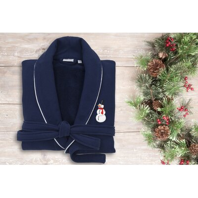 Snowman Embroidered Waffle Terry Bathrobe Size: 49 H x 25 W, Color: Navy