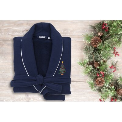XMas Tree Embroidered Waffle Terry Bathrobe Size: 47 H x 20 W, Color: Navy