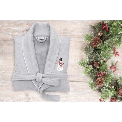 Snowman Embroidered Waffle Terry Bathrobe Size: 49 H x 25 W, Color: Light Gray