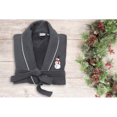Snowman Embroidered Waffle Terry Bathrobe Size: 47 H x 20 W, Color: Dark Gray