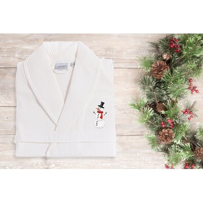 Snowman Waffle 100% Cotton Embroidered Weave Bathrobe Size: 47 H x 20 W