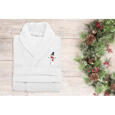 Snowman Embroidered 100% Cotton Weave Bathrobe Size: 49 H x 25 W, Color: White