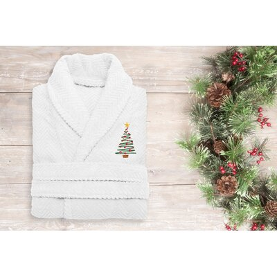 XMas Tree 100% Cotton Embroidered Weave Bathrobe Size: 49 H x 25 W, Color: White