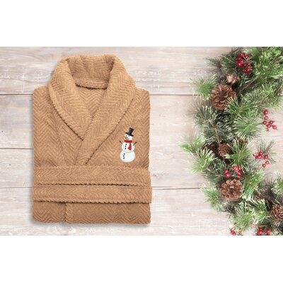 Snowman Embroidered 100% Cotton Weave Bathrobe Size: 49 H x 25 W, Color: Warm Sand