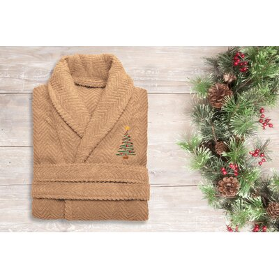 XMas Tree 100% Cotton Embroidered Weave Bathrobe Size: 49 H x 25 W, Color: Warm Sand