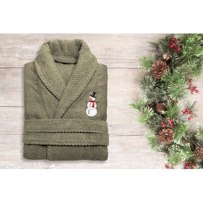Snowman Embroidered 100% Cotton Weave Bathrobe Size: 49 H x 25 W, Color: Light Olive