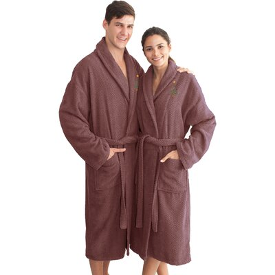 XMas Tree 100% Cotton Embroidered Weave Bathrobe Size: 47 H x 20 W, Color: Sugar Plum