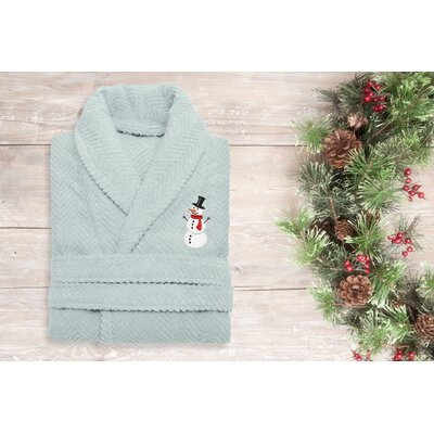 Snowman Embroidered 100% Cotton Weave Bathrobe Size: 49 H x 25 W, Color: Aqua Blue