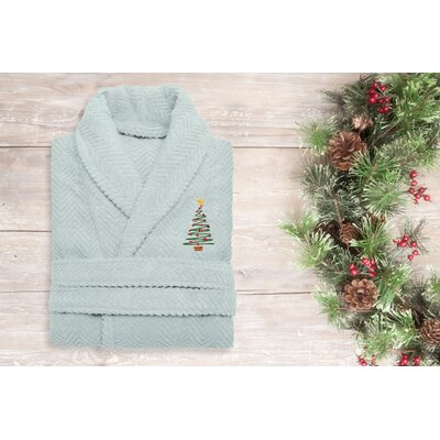 XMas Tree 100% Cotton Embroidered Weave Bathrobe Size: 49 H x 25 W, Color: Aqua Blue