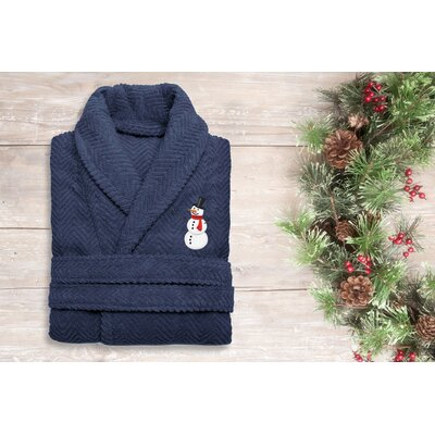 Snowman Embroidered 100% Cotton Weave Bathrobe Size: 49 H x 25 W, Color: Midnight Blue