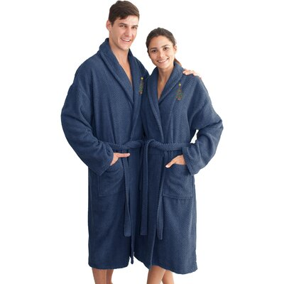 XMas Tree 100% Cotton Embroidered Weave Bathrobe Size: 49 H x 25 W, Color: Midnight Blue