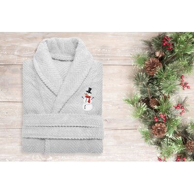 Snowman Embroidered 100% Cotton Weave Bathrobe Size: 47 H x 20 W, Color: Light Gray