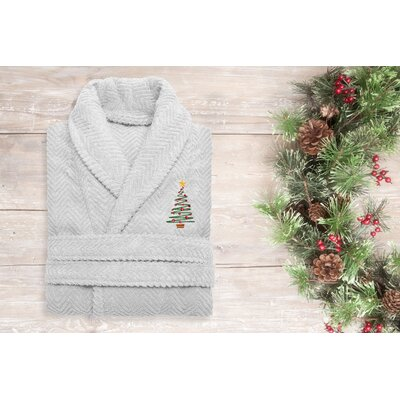 XMas Tree 100% Cotton Embroidered Weave Bathrobe Size: 49 H x 25 W, Color: Light Gray