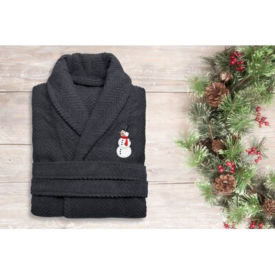 Snowman Embroidered 100% Cotton Weave Bathrobe Size: 49 H x 25 W, Color: Dark Gray