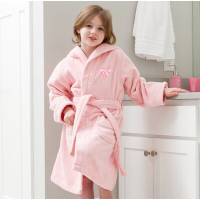 Ashby 100% Cotton Hooded Bow Design Terry Bathrobe Size: Medium, Color: Pretty Pink/Pink