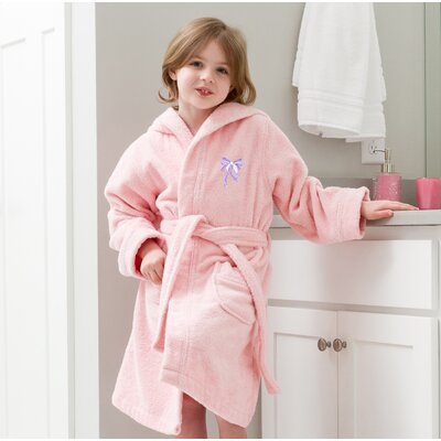 Ashby 100% Cotton Hooded Bow Design Terry Bathrobe Size: Small, Color: Pretty Pink/Purple