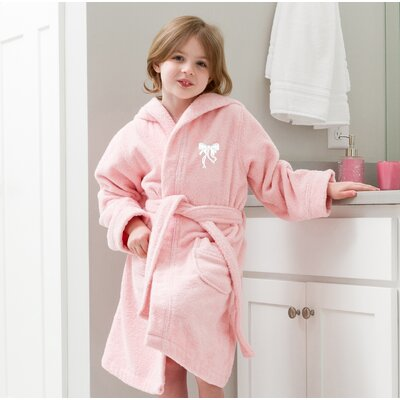 Ashby 100% Cotton Hooded Bow Design Terry Bathrobe Size: Small, Color: Pretty Pink/White