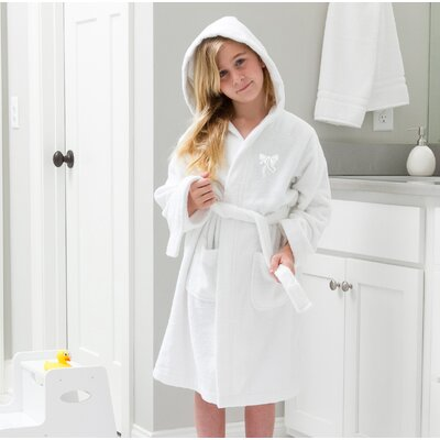 Ashby 100% Cotton Hooded Bow Design Terry Bathrobe Size: Large, Color: White
