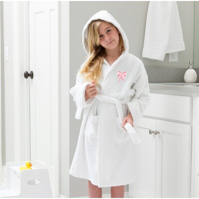 Ashby 100% Cotton Hooded Bow Design Terry Bathrobe Size: Small, Color: White/Pink