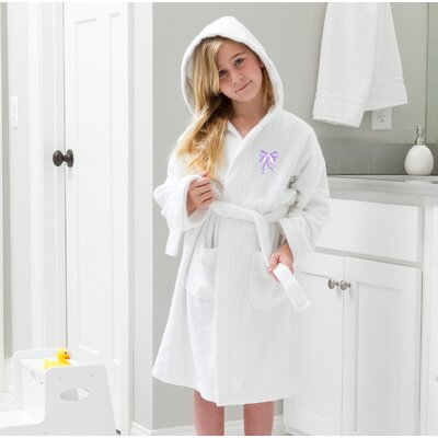 Ashby 100% Cotton Hooded Bow Design Terry Bathrobe Size: Large, Color: White/Purple
