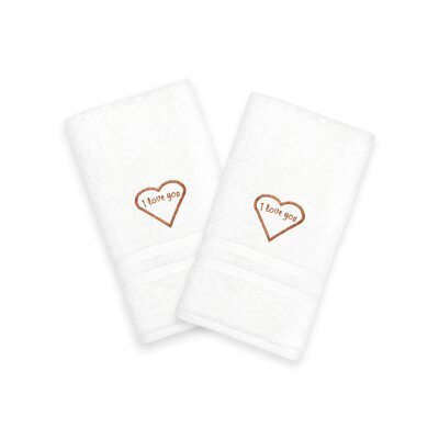 I Love You Embroidered Hand Towel Color: Brown