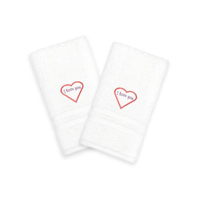 I Love You Embroidered Hand Towel Color: Red