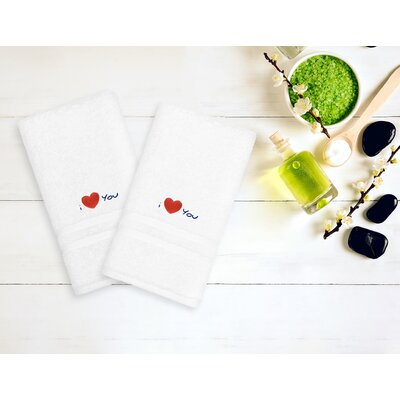 I Love You Embroidered Hand Towel Color: Navy