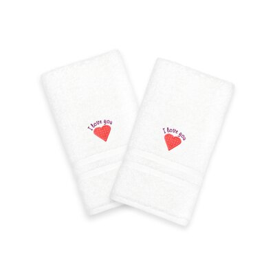 I Love You Embroidered Hand Towel