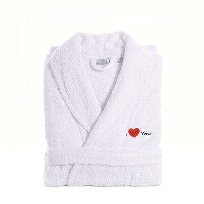 I Love You Embroidered Terry Bathrobe Size: Large / XLarge, Color: Navy