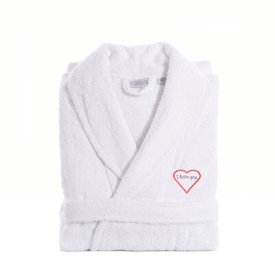 I Love You Embroidered Terry Bathrobe Size: Large / XLarge, Color: Pink