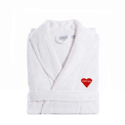 I Love You Embroidered White Terry Bathrobe - Red Heart Size: Large / XLarge