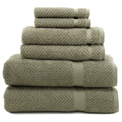 Herringbone 6 Piece Towel Set Color: Light Olive