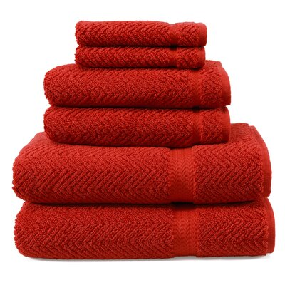 Herringbone 6 Piece Towel Set Color: Terra Cotta