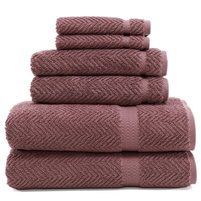 Herringbone 6 Piece Towel Set Color: Sugar Plum